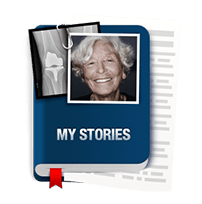 icon of book showing knee replacement stories
