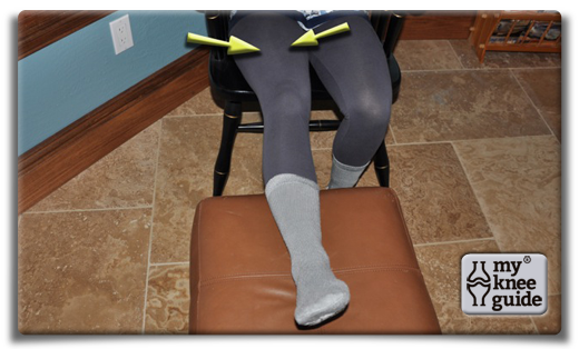 Knee Extension with foot stool - Place your ankle on a stool or another chair. Tighten the front thigh muscles to push the knee toward the floor