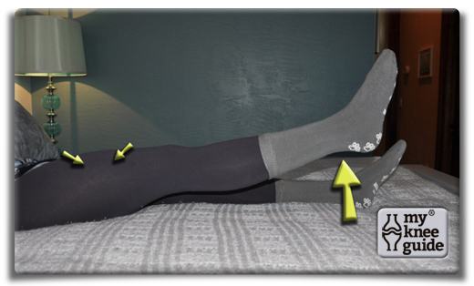 Heel Slides - Tighten your thigh muscles and lift your leg 4 inches off the bed. Keep the knee as straight as possible
